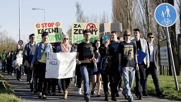 Protestní pochod proti kácení aleje stromů podél řeky Orlice v Hradci Králové.
