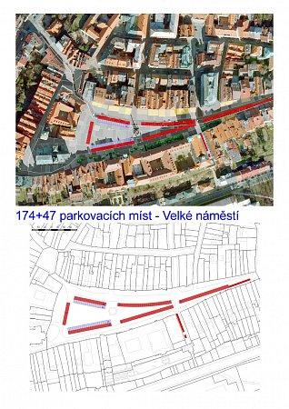 174 + 47parkovacích míst - Velké náměstí, Hradec Králové.