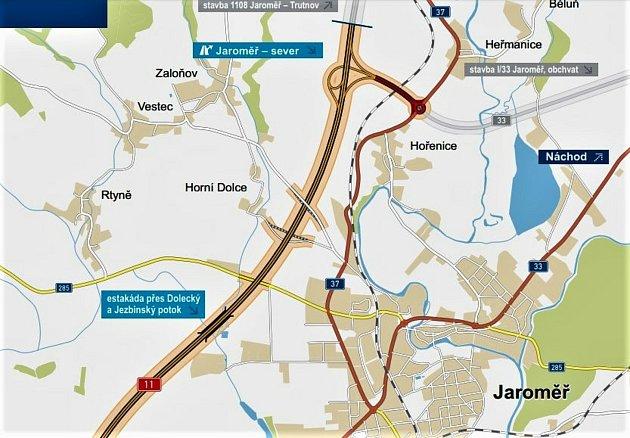 Spor se dotýká pozemku vmístě plánovaného kruhového objezdu na sjezdu zdálnice mezi Hořenicemi a Heřmanicemi. Zdroj mapy: ŘSD