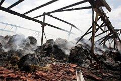 Požár zemědělské skladovací haly ve Skřivanech. S ohněm bojovalo šest jednotek hasičů. Napáchaná škoda přesáhne dva miliony korun.