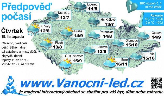 Předpověď počasí na čtvrtek 19.listopadu.