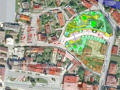 Studie ukazuje potencionální silnici včetně parkovacích míst, která by měla vzniknout po demolici Hajnišova mlýnu. Třebechovice pod Orebem tím chtějí vyřešit problém s parkováním a usnadnit cestu autobusům k zimnímu stadionu.