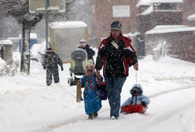 Sněhová kalamita v Hradci Králové, neděle 10. 1. 2010.