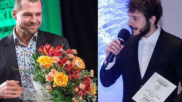 Vlevo vítěz Královéhradeckého kraje - sportovní střelec Miroslav Zapletal, vpravo plochodrážní jezdec Václav Milík, vítěz v Pardubickém kraji.