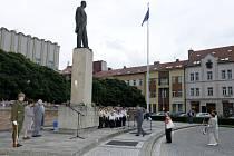 Připomínka úmrtí bývalého prezidenta T. G. Masaryka na královéhradeckém Masarykově náměstí.