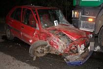 Automobilová nehoda v Albrechticích 2. října 2009.