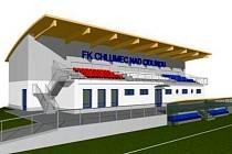 Vizualizace tribuny a kabin pro fotbalový areál v Chlumci nad Cidlinou. Zpracoval ji architekt Jan Zima z Chlumce, který areál navrhoval.