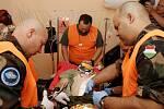 Cvičení zdravotníků v královéhradecké polní nemocnici.