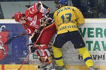 HC Slovan Ústěčtí Lvi hostil v sobotu hokejisty z Hradce Králové (v červeném).