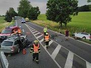 Dopravní nehoda dvou osobních automobilů u Sadové.
