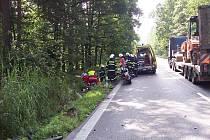 Srážka motocyklu s osobním autem