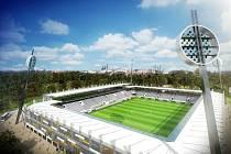Vizualizace Městského stadionu v královéhradeckých Malšovicích.