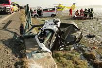 Dopravní nehoda kamionu a sanitky u Rounice.