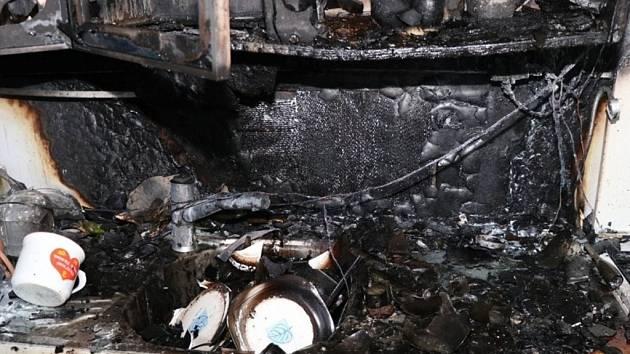 Požár bytu v hradecké Třebechovické ulici.
