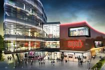 Vizualizace obchodně-zábavního centra Aupark v Hradci Králové.