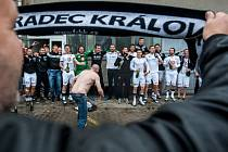 Oslava postupu hradeckých fotbalistů do nejvyšší soutěže.
