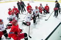 Příprava hokejistů hradeckého Mountfieldu na ledě.