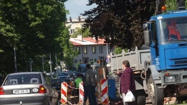 Rozkopaná ulice V Lipkách