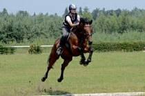 Jezdkyně Nikola Jindrová a plnokrevník Lucky Look.