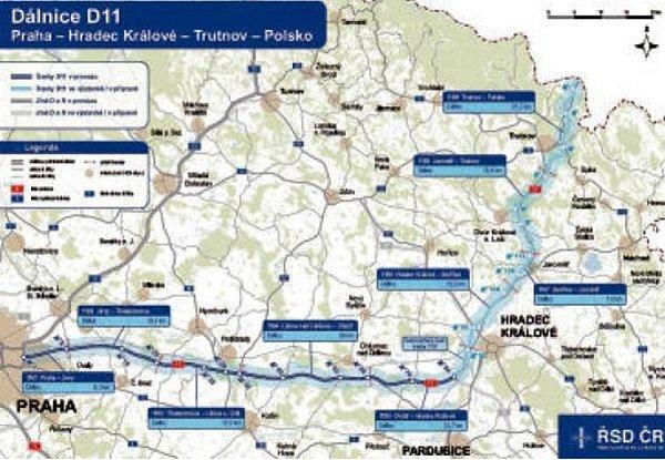 Dálnice D11: Praha - Hradec Králové - Trutnov - Polsko.