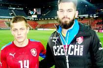 Přátelské fotbalové utkání Česká republika U21 vs. Anglie U21 - Tomáš Holeš a Tomáš Koubek (zleva).