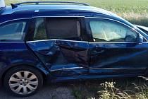 Dopravu v Předměřicích blokovala nehoda dvou aut.