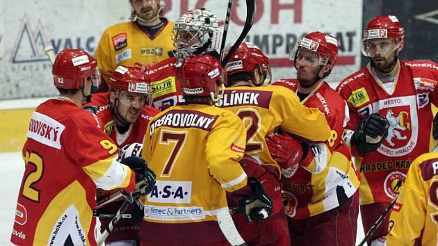 Play off I. hokejové ligy - 4. čtvrtfinále: HC VCES Hradec Králové - HC Dukla Jihlava.
