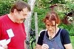 Zpěvačka Věra Mazánková - Wajsarová a Jaroslav Balcar na setkání fanclubu Petra Nováka na Chlumu.