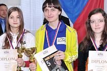 Úspěšní šachisté na MČR mládeže v Koutech nad Desnou. Uprostřed Lenka Rojíková.