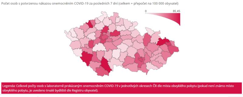 Mapa aktuálního počtu nakažených podle okresů