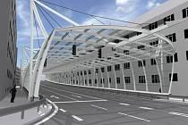 Vizualizace skleněného tunelu, který oddělí obytnou zástavbu od rušné komunikace. Ředitelství silnic a dálnic stavba přijde zhruba na 220 milionů korun a hotova by měla být do konce listopadu letošního roku.