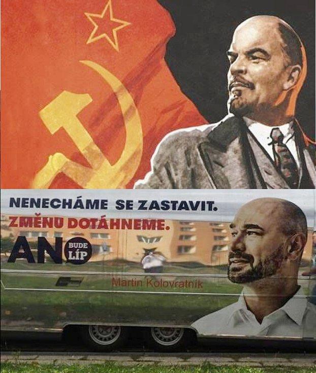 JAKO LENIN. Někteří lidé si utahují z billboardů lídra pardubického hnutí ANO Martina Kolovratníka kvůli podobně vizionářskému výrazu, jaký měl na ilustracích V. I. Lenin.