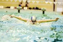 Kristýna Jiránková na mistrovství České republiky staršího žactva v plavání.