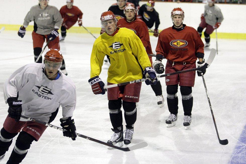 První trénink na ledě absolvovali hokejisté Královštví Lvi Hradec Králové v malé hale pardubické ČEZ Areny.