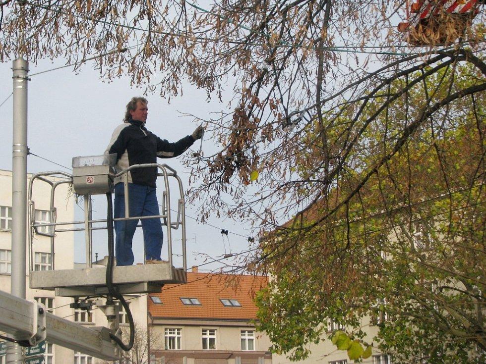 Instalace vánočního osvětlení na hradeckém Ulrichově náměstí.
