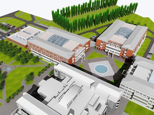 Vizualizace kompletního jádra univerzitniho areálu Na Soutoku.