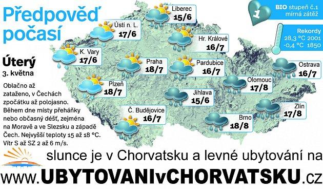 Předpověď počasí na úterý 3.května.
