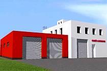 Podoba nové zbrojnice dobrovolných hasičů z Lochenic.