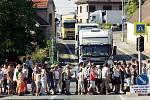 Blokáda dopravy v Novém Městě u Chlumce n. C.