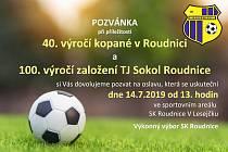 Pozvánka na oslavu 40 let fotbalu a 100 let TJ Sokol Roudnice a Pouťový fotbalový víkend.