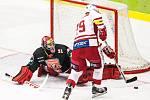 Hokejová extraliga: Mountfield HK - HC Slavia Praha.