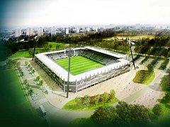 Možná podoba nového fotbalového stadionu v Hradci Králové.