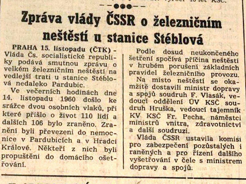 Článek o nehodě u Stéblové v tisku.
