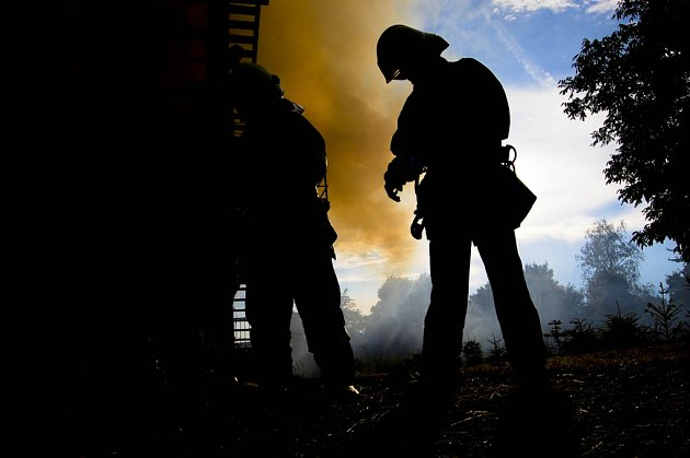 Požár seníku v Rozběřicích