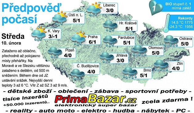 Předpověď počasí na středu 10.února.