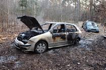 Požár osobního automobilu v lese v hradecké Slatině.
