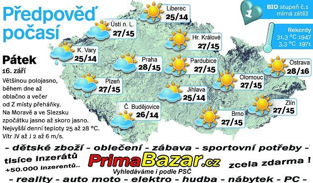 Předpověď počasí na pátek 16.září.