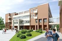 Vizualizace budovy Přírodovědecké fakulty Univerzity Hradec Králové v areálu Na Soutoku.