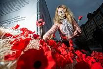 Paměť národa zasadila symbolické máky na Baťkově náměstí v Hradci Králové