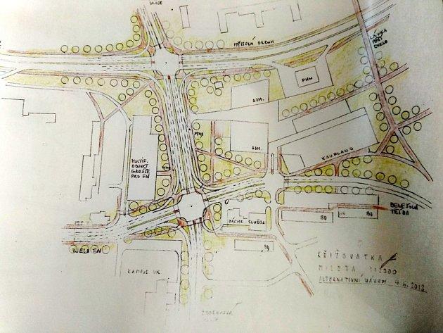 Plán přestavby křižovatky Mileta.